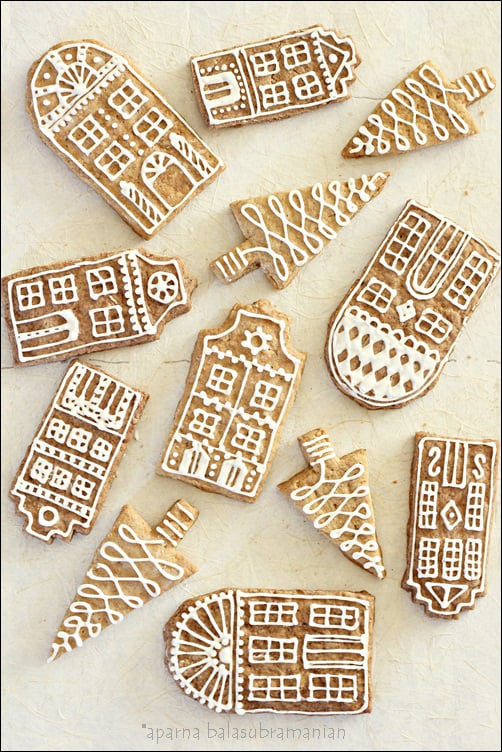 decorated gingerbread row houses
