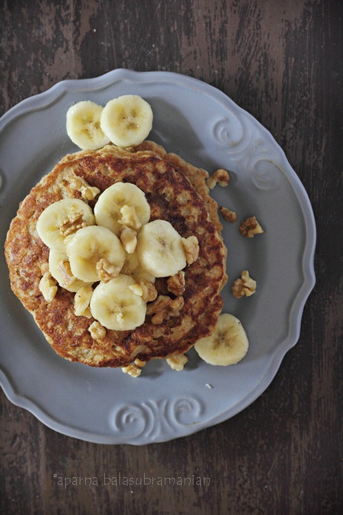 Whole Wheat Oats Banana Pancakes top view