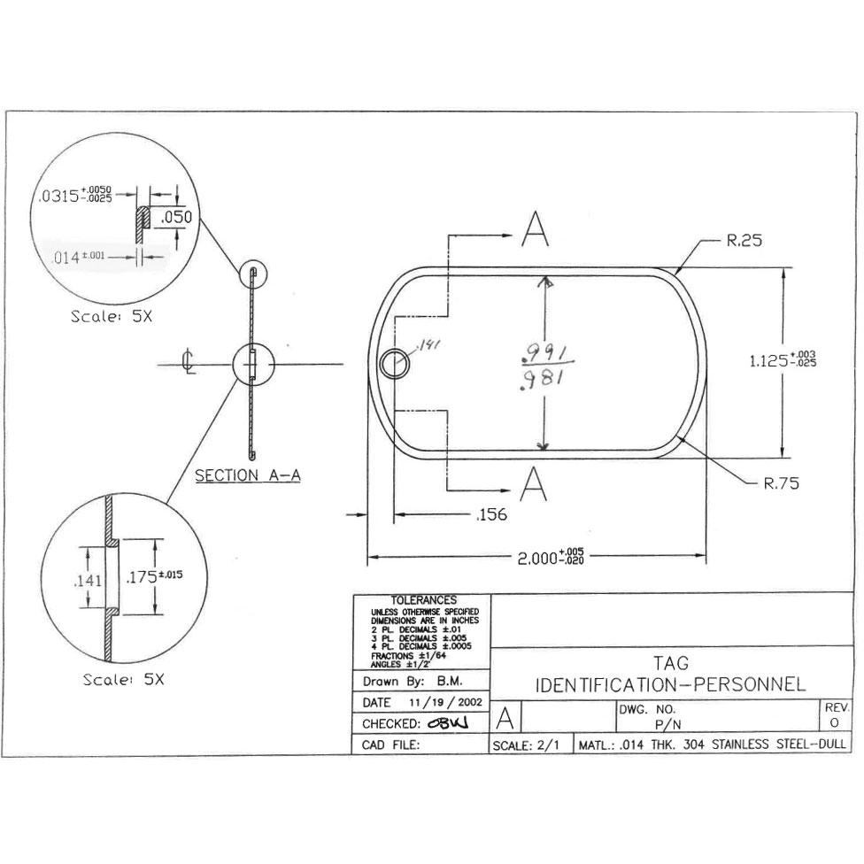 medium resolution of mil spec matte dog tag dog tag diagram