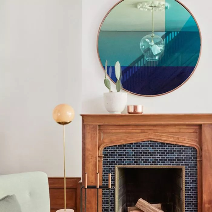 living room with Iridescent Mirror