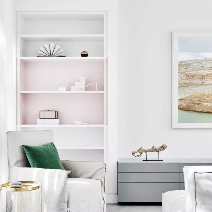 living room with bookcase display