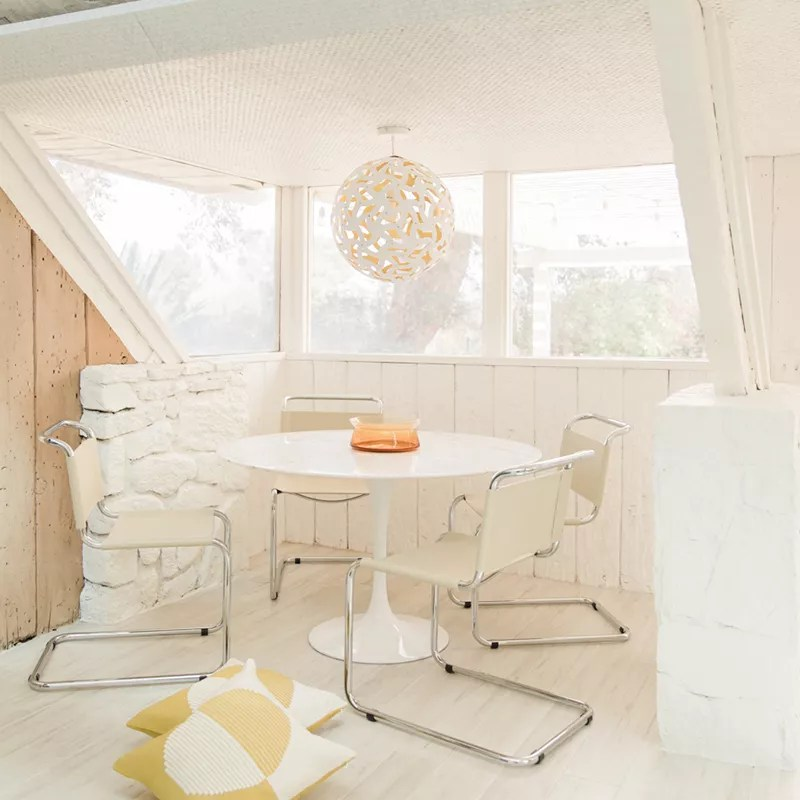 White dining area.