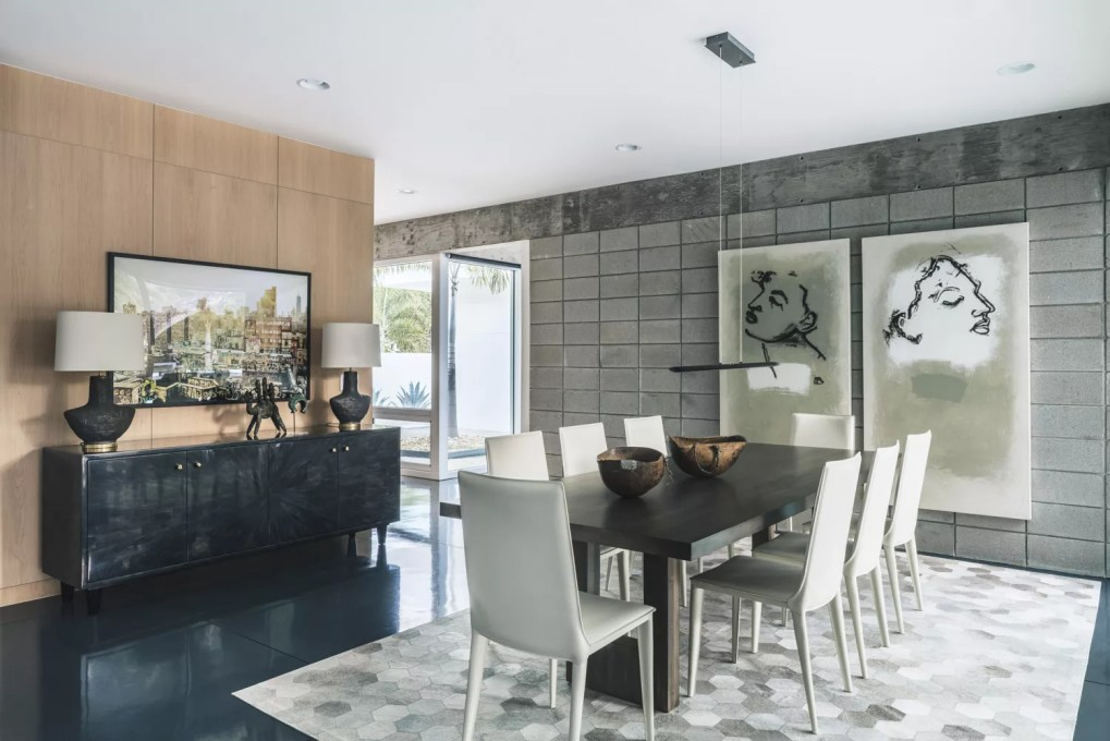 Modern dining room with oversized art