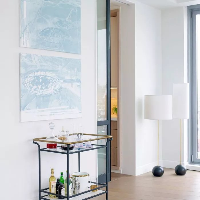 living room with Diptychs art