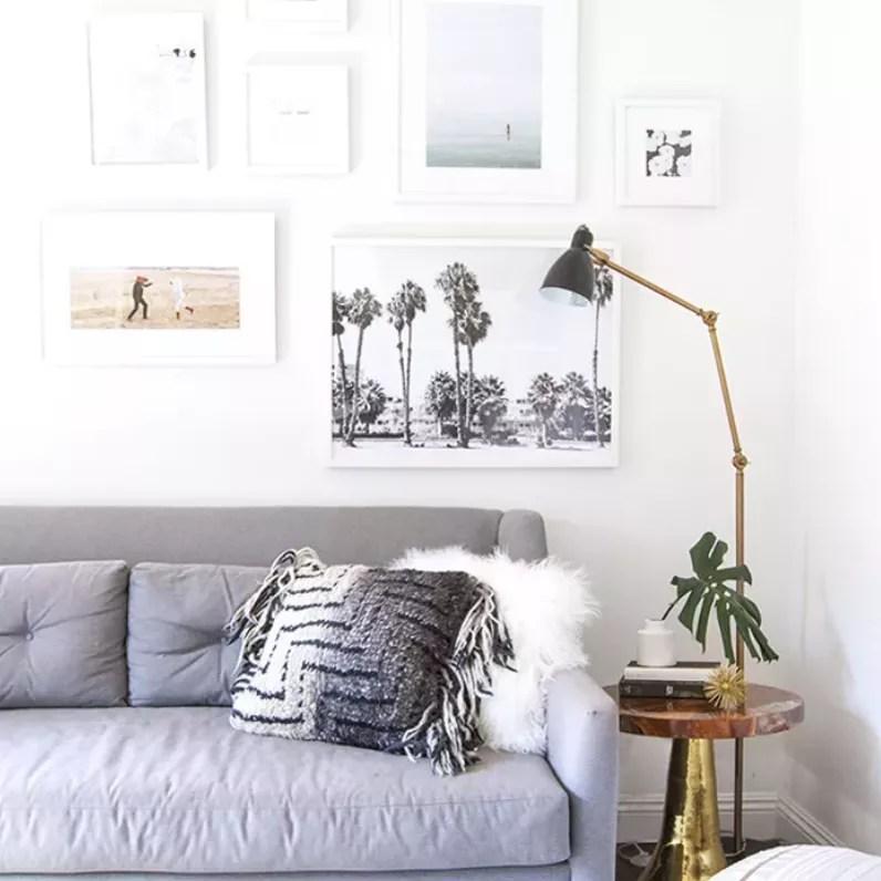 Living room features slim floor lamp