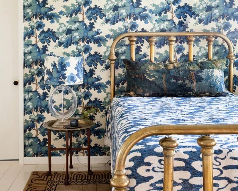 Blue patterned bedroom.