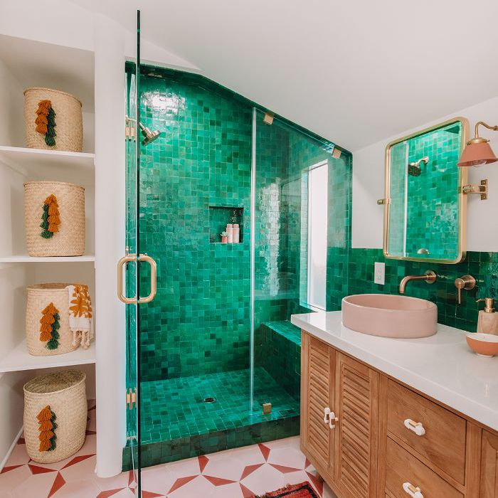 bathroom makeover with bright green tiles