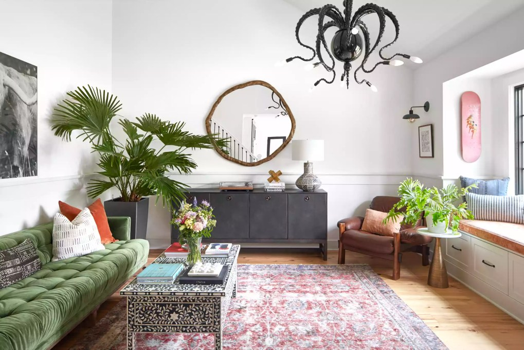 Vintage rug in an eclectic living room