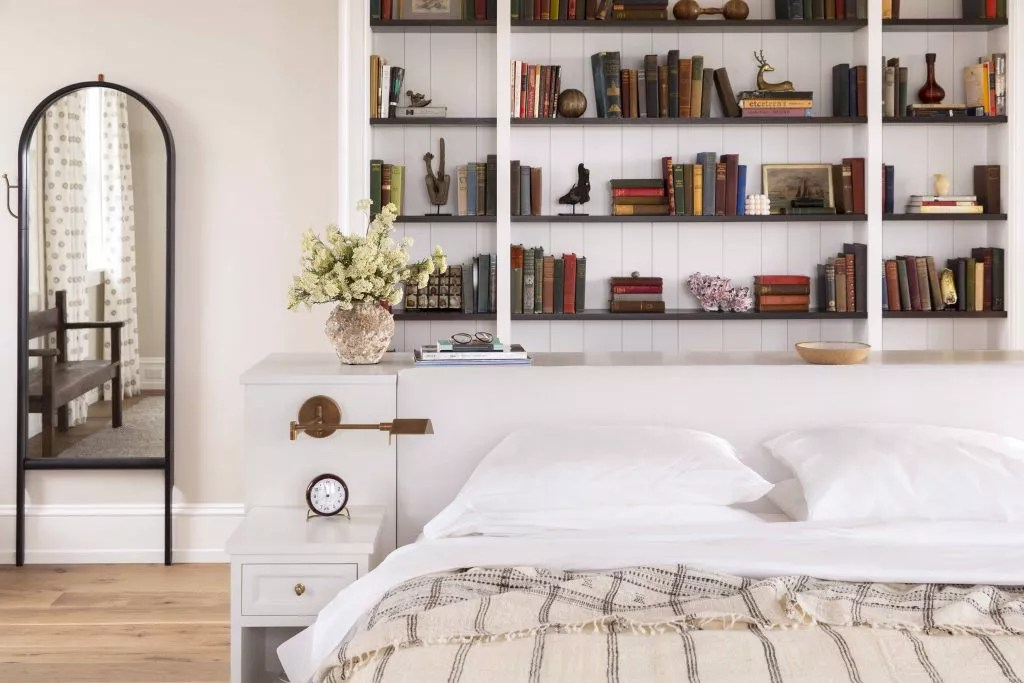 Vintage feel bedroom with antique books.