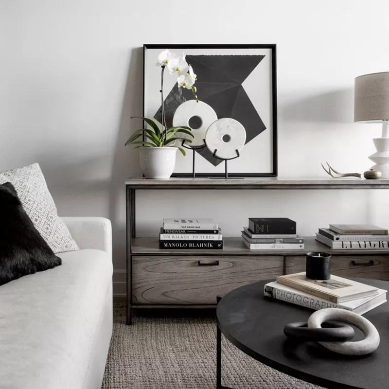 Black and white tonal living room.