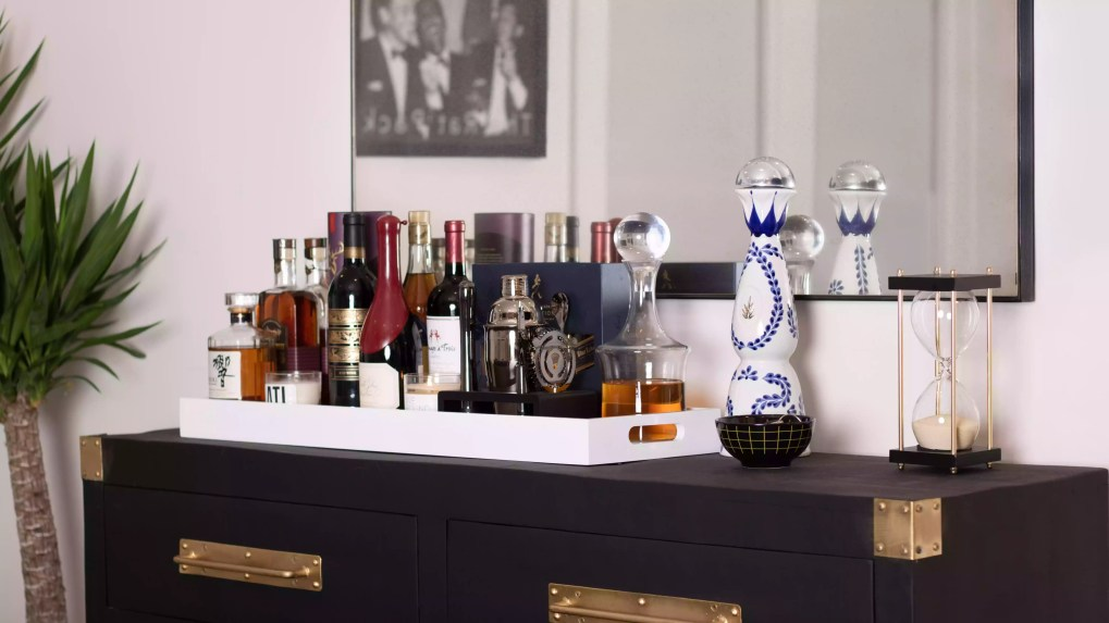 Dresser repurposed into a bar