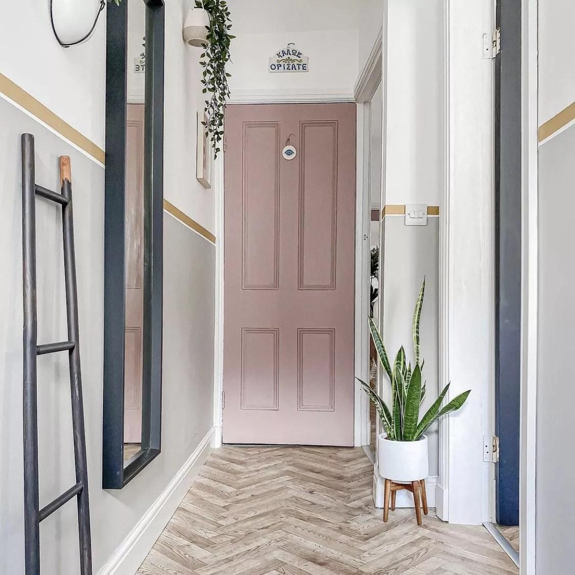 Light grey colorblock entryway.