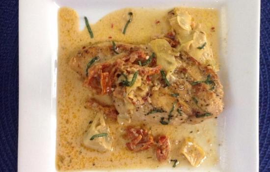 Chicken with Sun-Dried Tomato Cream Sauce and Artichokes