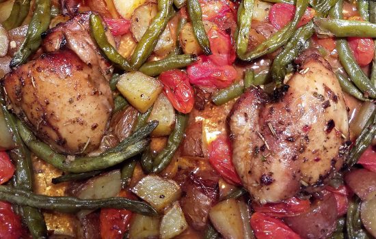 One Pan Balsamic Herb Chicken with Vegetables