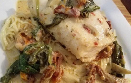 Baked Rockfish with Sun-Dried Tomato Cream Sauce