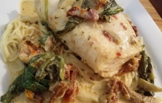 Baked Rockfish with Sun-Dried Tomato Cream Sauce