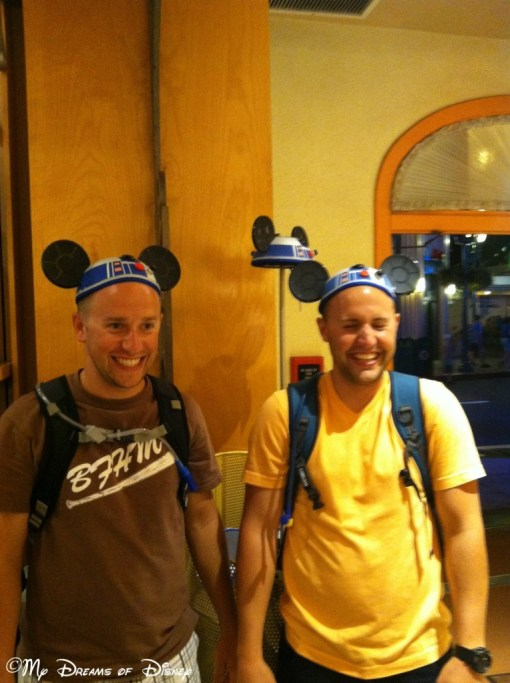 Happiness isn't limited to little kids -- take a look at brothers Kyle and Shane for evidence as they try on their R2D2 Mickey Ears!