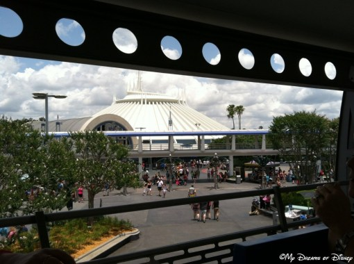 I like this shot taken from the Tomorrowland Transit Authority PeopleMover!