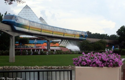 The Tron Monorail passing through Epcot's Future World.