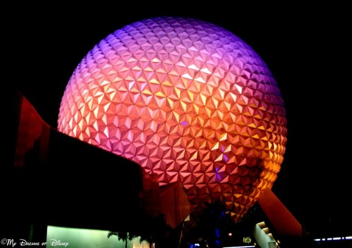 Spaceship Earth, Epcot's iconic structure, is incredible when viewed at night!