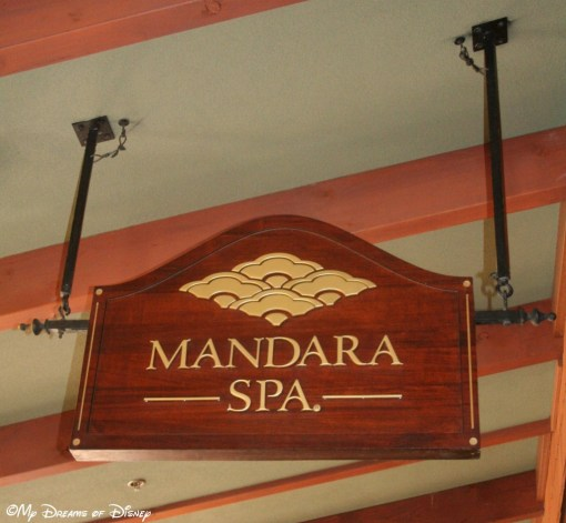The sign outside the spa at the Grand Californian Hotel