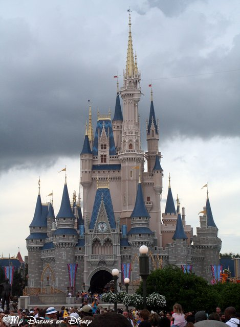 Cinderella Castle before the storm hits.