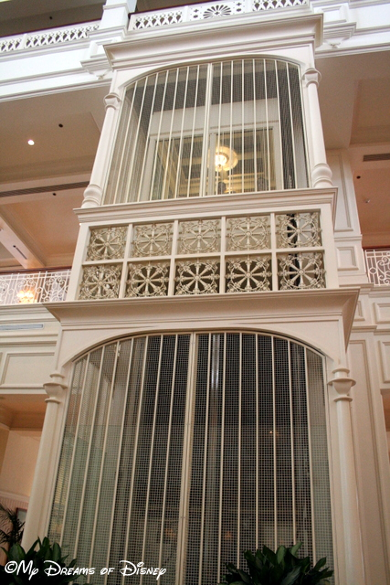 The lobby elevator that travels just to the second floor.