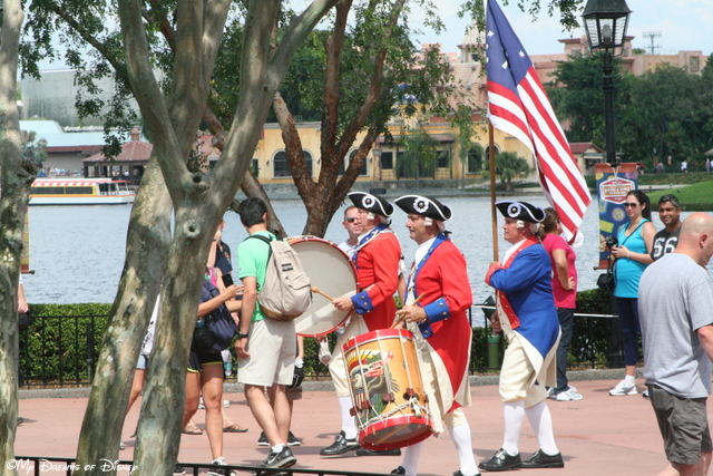 The Spirit of America Fife & Drum Corps marches into position to play for us!