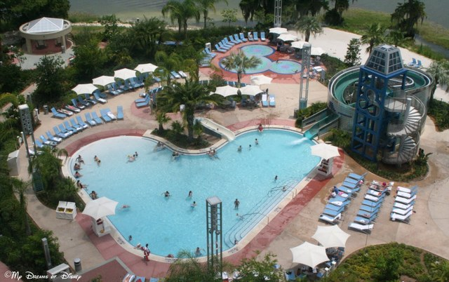 The Swimming Pool is shaped like a Hidden Mickey over at Bay Lake Tower!