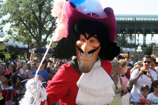 Boo! Hiss! Captain Hook is not a good hero -- although it is funny that he is holding balloons!