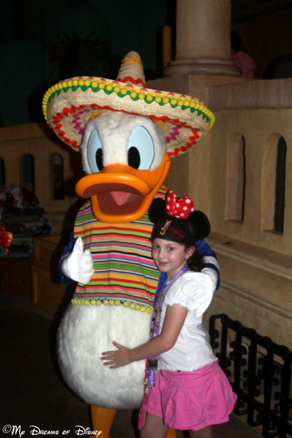 Of course, character greetings are part of every Disney park! Here Sophie is joined with her buddy Donald Duck!