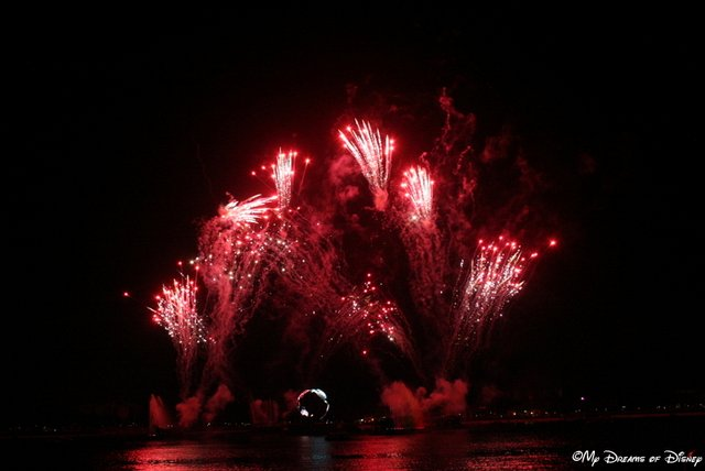 Fireworks light the night sky in World Showcase Lagoon for Illuminations: Reflections of Earth