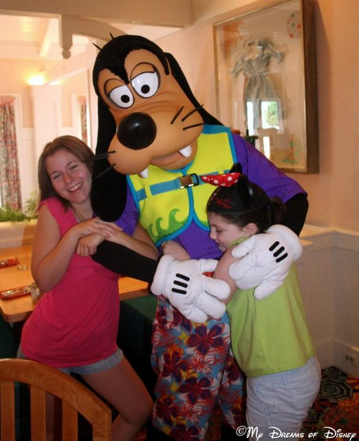 Stephanie and Sophie hugging Goofy at the Cape May Cafe in 2010!