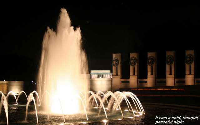 The fountain in the center of the World War II Memorial.