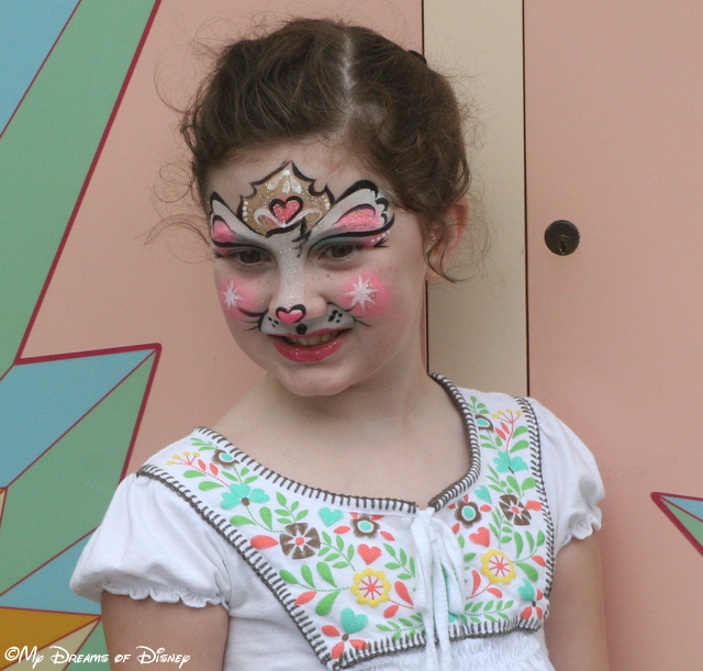 At Animal Kingdom Park, Sophie had her face painted.  I love this picture of her!