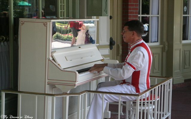 The Piano Player outside of Casey's provides a great example of Disney Music!