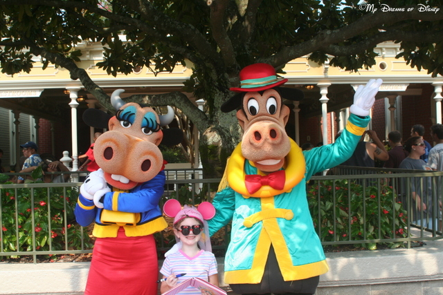 Clarabelle Cow, Sophie, and Horace Horsecollar pose for the camera!
