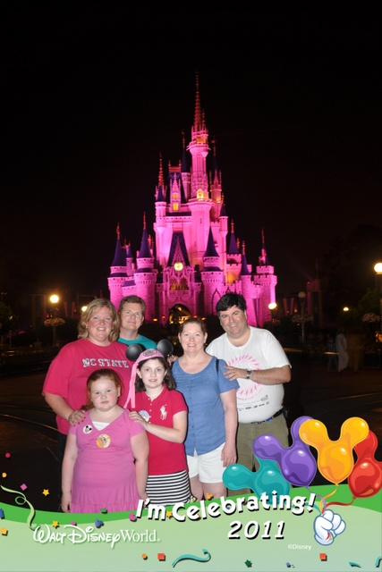 Otis, Nancy, Anna Jane, Sophie, Cindy and I pose in front of Cinderella Castle!