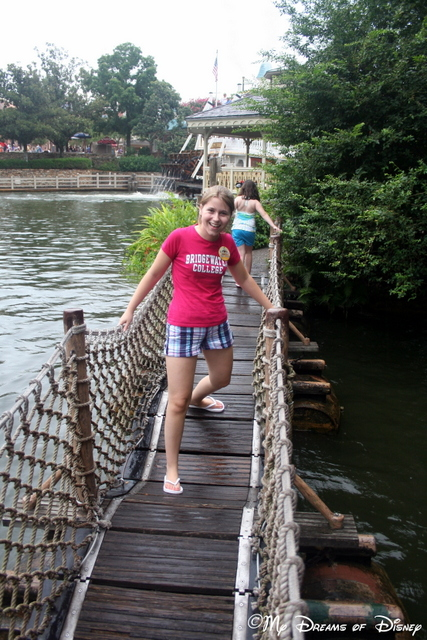 This is my niece Stephanie enjoying the Barrel Bridge!