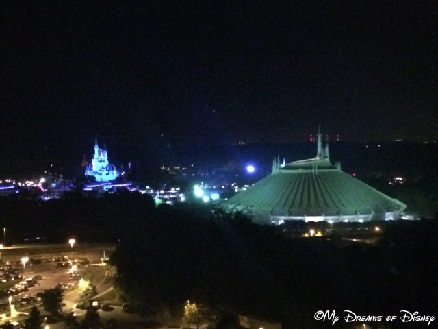 Cinderella Castle and Space Mountain as seen from the Top of the World Lounge
