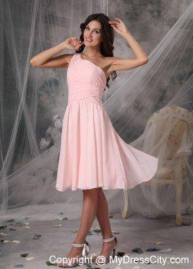 Blush Pink One Shoulder Ruching Chiffon Bridesmaid Dama Dresses  MyDressCitycom