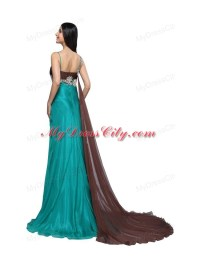 Teal Blue Spaghetti Straps Beading and Ruching Watteau ...