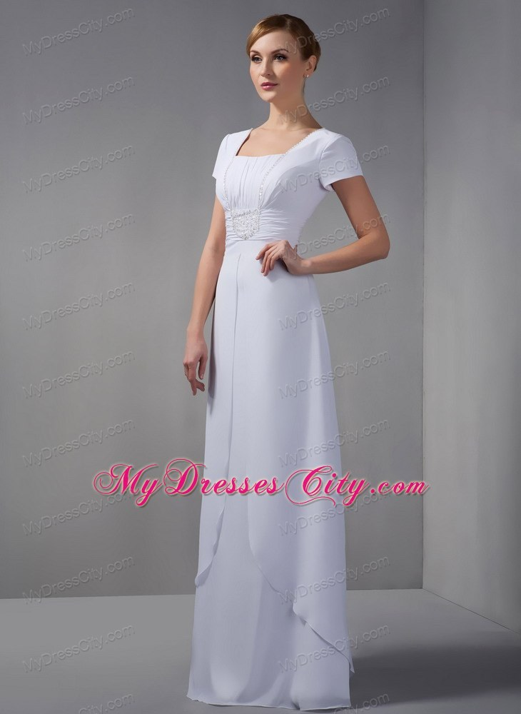Square White Column Mother Of The Bride Dress Long Chiffon