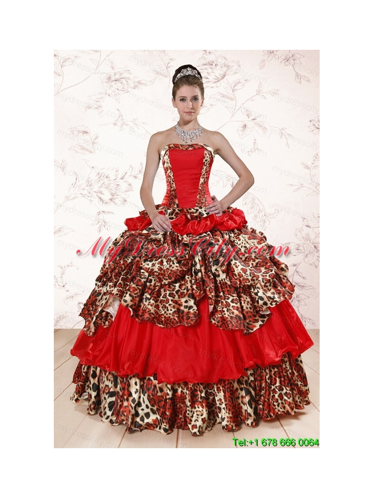 Unique Leopard Multi Color 2015 Quinceanera Dresses With