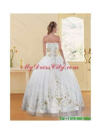 Elegant Embroidery White and Gold Quinceanera Dress for ...