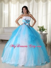 Tulle Ball Gown Strapless White and Blue Dress for Sweet ...
