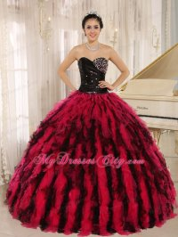 Ruffles Sweetheart Black and Hot Pink Quinceanera Dress ...