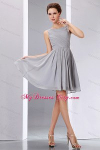 Beautiful Short Grey Ruched Chiffon Scoop A-line Junior ...