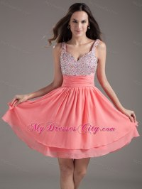 A-Line Straps Beading Watermelon Short Prom Dresses Under ...