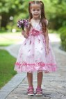 Hand Flowers White And Pink -line Scoop Flower Girl